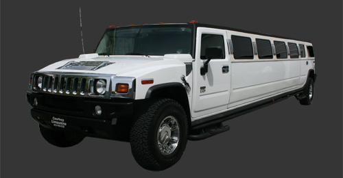 [Image: A white Stretch H2 Hummer that fits up to 14 passengers and would be great for any event.]